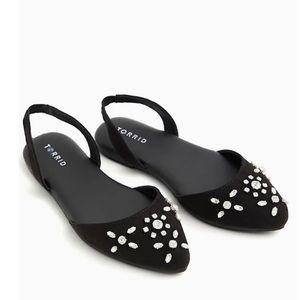🆕Black Embellished Faux Gem Slingback Flat Sandal